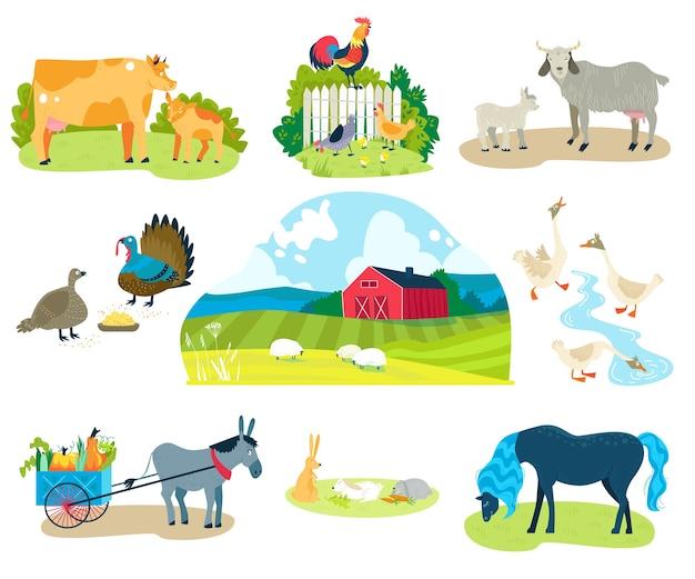 Zestaw ilustracji zwierząt gospodarskich