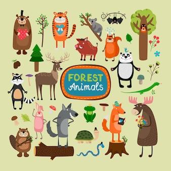 Zestaw ilustracji zwierząt leśnych