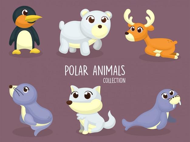 Zestaw ilustracji zwierząt polarnych, pingwin, niedźwiedź, jeleń, lew morski, wilk, morsa w kreskówce