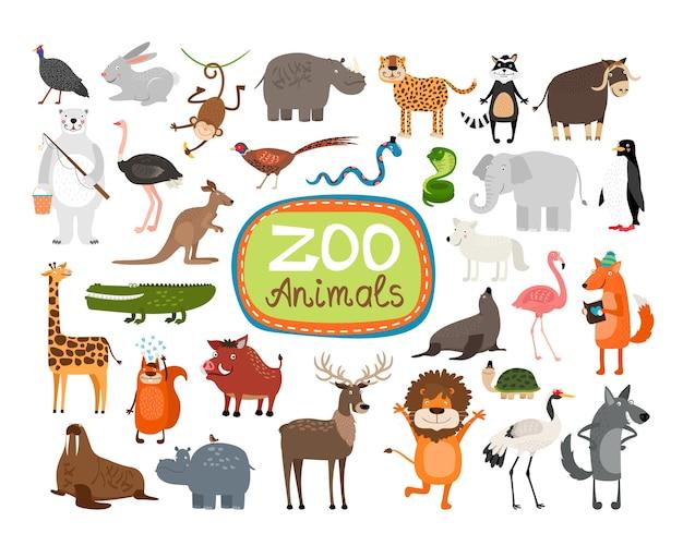 Zestaw ilustracji zwierząt w zoo