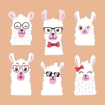 Zestaw ilustracji zwierzęcia lamy z okularami przeciwsłonecznymi