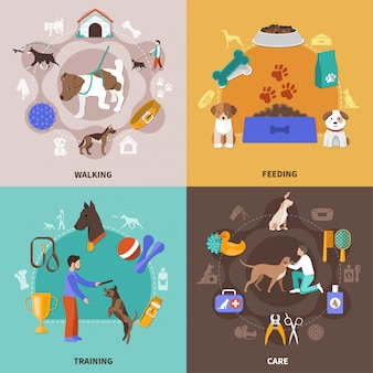 Zestaw ilustracji życia psa