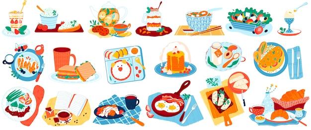 Zestaw ilustracji żywności śniadaniowej, kolekcja kreskówek ze zdrową kanapką lub sałatką, smaczne jajka na bekonie, menu kawiarni lub domu