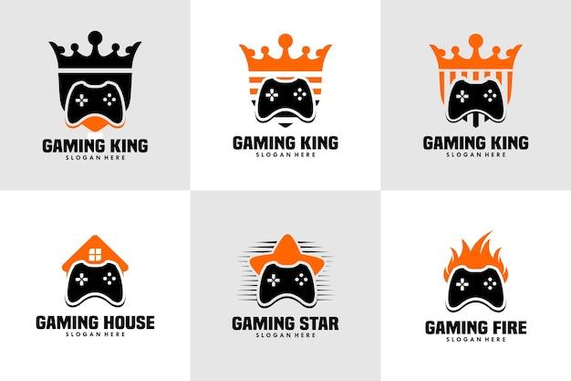 Zestaw ilustracyjnego projektu logo gier