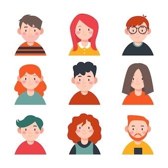 Zestaw ilustrowanych awatarów osób