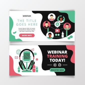 Zestaw ilustrowanych banerów na seminaria internetowe