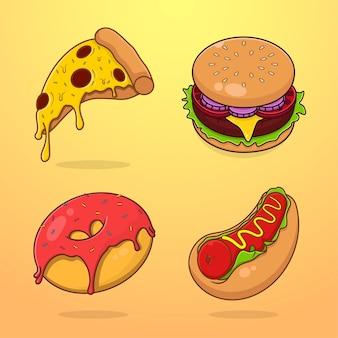 Zestaw ilustrowanych fast foodów w stylu kreskówki