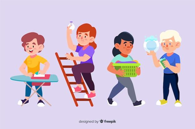 Zestaw ilustrowanych minimalistycznych postaci wykonujących prace domowe