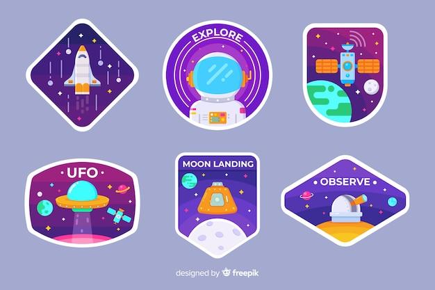 Zestaw ilustrowanych naklejek kosmicznych
