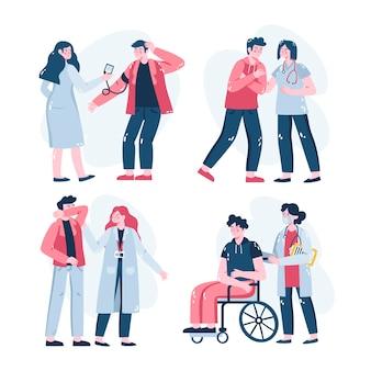 Zestaw ilustrowanych naklejek medycznych