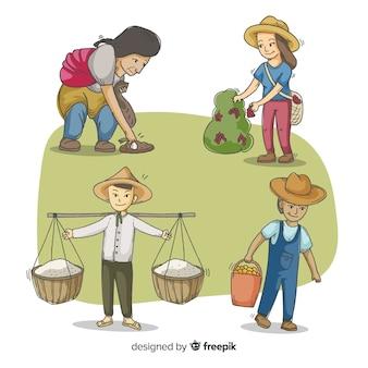 Zestaw ilustrowanych rolników pracujących