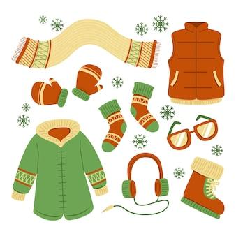 Zestaw ilustrowanych ubrań zimowych