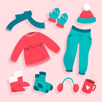 Zestaw ilustrowanych zimowych ubrań