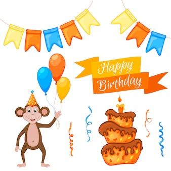 Zestaw imprezowy z małpą i kolorowymi przedmiotami na białym tle. napis