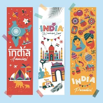Zestaw indii kraj azji indyjska architektura tradycje azjatyckie buddyzm podróżują na białym tle ikony i symbole w 3 pionowych banerach.