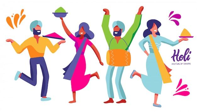 Zestaw indyjskich tancerzy festiwalu kolorów. karnawałowe postacie kobiet i mężczyzn. element na imprezę holi. płaska ilustracja.