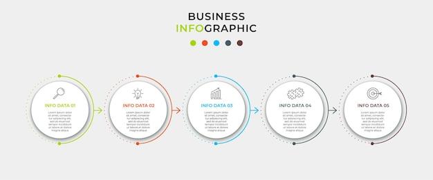 Zestaw infografik biznesowych z wykresem informacyjnym schematu blokowego procesu