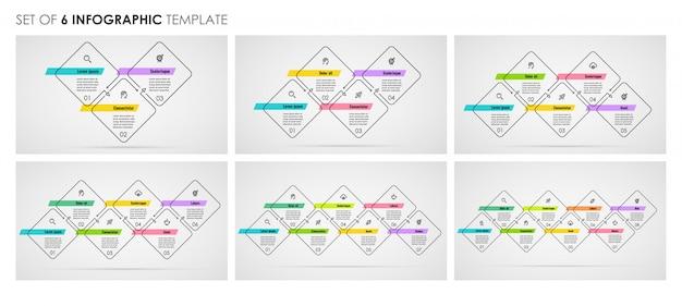 Zestaw infografiki cienka linia z ikonami oraz 3, 4, 5, 6, 7, 8 opcji lub kroków. pomysł na biznes.