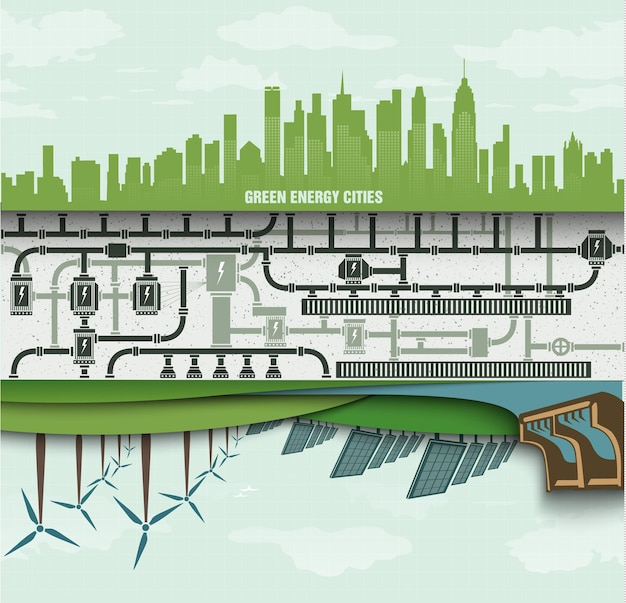 Zestaw infografiki ilustracji odnawialnych źródeł energii ziemskiej wody i wiatru