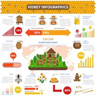 Zestaw infografiki miodu