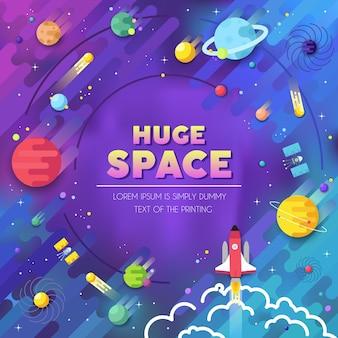 Zestaw infografiki ogromnego wszechświata. rakieta kosmiczna lecąca w górę do układu słonecznego z.