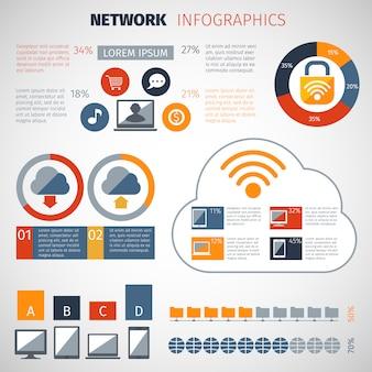 Zestaw infografiki sieci