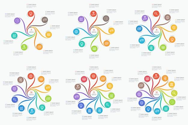 Zestaw infografiki styl wirować 7-12 opcji