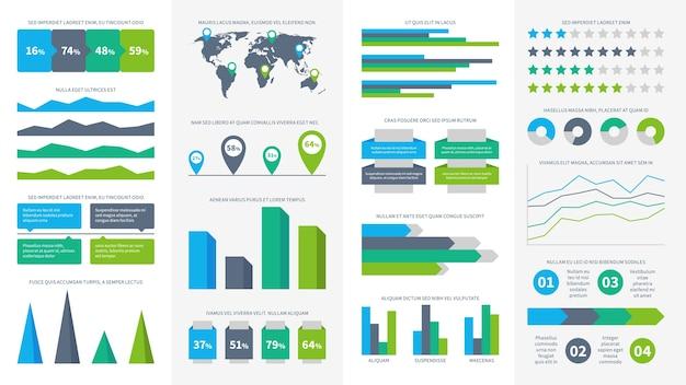 Zestaw infografiki. wykresy, diagramy i wykresy. schemat blokowy, paski danych i oś czasu do prezentacji raportu, symbol infografiki przedstawiającej czas tworzenia wykresów elementów tempa wzrostu gospodarczego