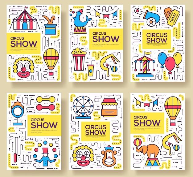 Zestaw infographic ikon konturu cyrku najwyższej jakości. festiwalowy pakiet symboli liniowych.