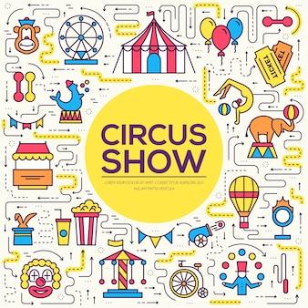 Zestaw infographic ikon konturu cyrku najwyższej jakości