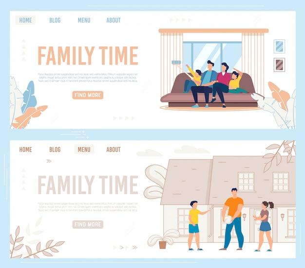 Zestaw informacyjny ulotka napis family time.