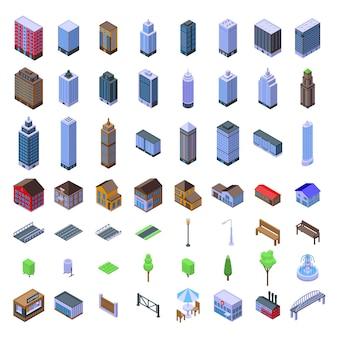 Zestaw infrastruktury miejskiej. izometryczny zestaw infrastruktury miejskiej do projektowania stron internetowych na białym tle