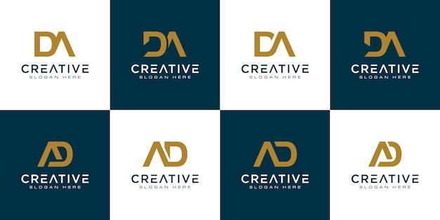 Zestaw inicjałów litera d i abstrakcyjne logo