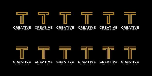 Zestaw inicjałów litera t streszczenie logo