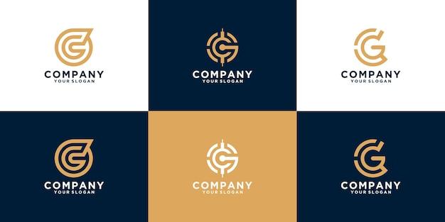 Zestaw inicjałów litery cg szablon projektu logo