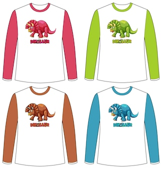 Zestaw innego koloru ekranu dinozaura na koszulce z długim rękawem
