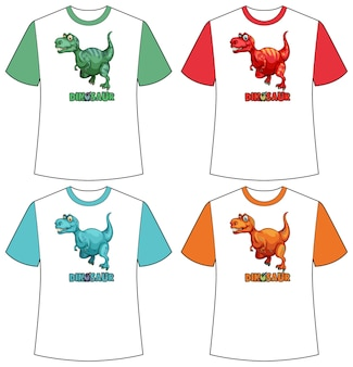 Zestaw innego koloru ekranu dinozaura na koszulkach
