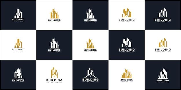 Zestaw inspiracji do projektowania logo budynku. mega set i big group, nieruchomości, budownictwo i budownictwo