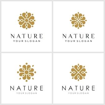 Zestaw inspiracji logo kwiatka. logo może być używane w spa, salonie piękności, dekoracji, butiku.