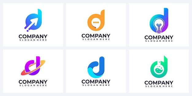 Zestaw inspiracji logo nowoczesne streszczenie litera d