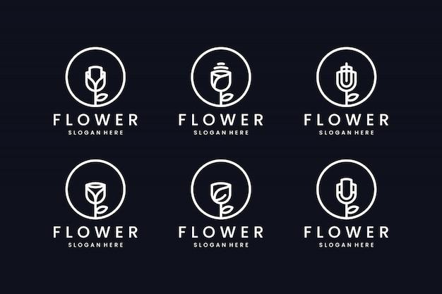 Zestaw inspiracji projektowaniem logo linii kwiatowej