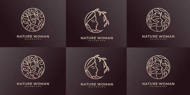 Zestaw inspiracji projektowych logo piękna kobieta.