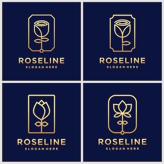 Zestaw inspirowanych złotym minimalistycznym eleganckim kwiatowym różanym kwiatem piękna, kosmetyków, jogi i logo spa.