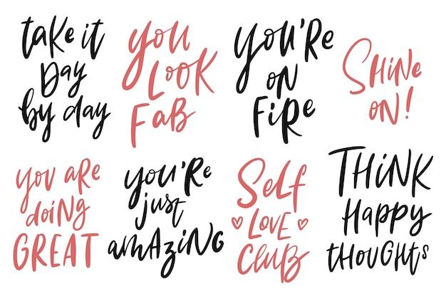 Zestaw inspirujących cytatów napis