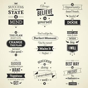 Zestaw inspirujących sukcesów cytuje typograficzne plakaty z motywacją twórczego życia