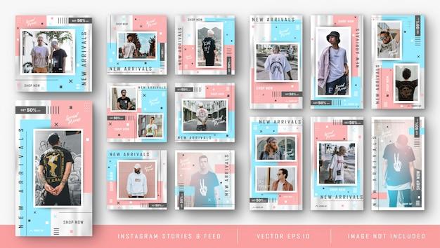 Zestaw instagram dla szablonu pakietu sprzedaży mody
