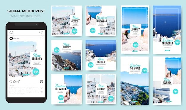 Zestaw instagram travel nowoczesny biały minimalistyczny post w mediach społecznościowych