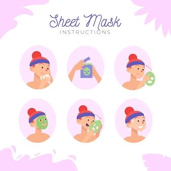 Zestaw instrukcji maski w płachcie