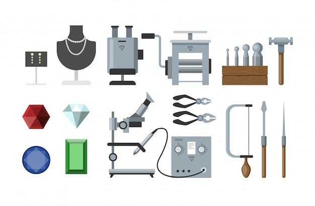 Zestaw instrumentów jubilerskich do robienia akcesoriów i innych rzeczy.