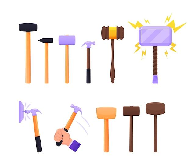 Zestaw instrumentów młot kowalski, drewniany i metalowy młotek thor